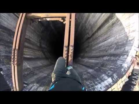 Climbing huge chimney in Pitesti