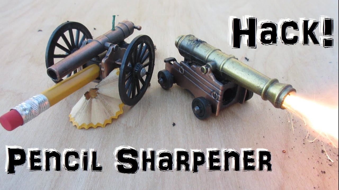 Mini Cannon! Made from pencil sharpener! - (Hack!)