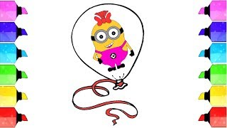 Learn to Draw and Color Minion Balloon Glitter Learn Colors for Kid | Drawing Extra