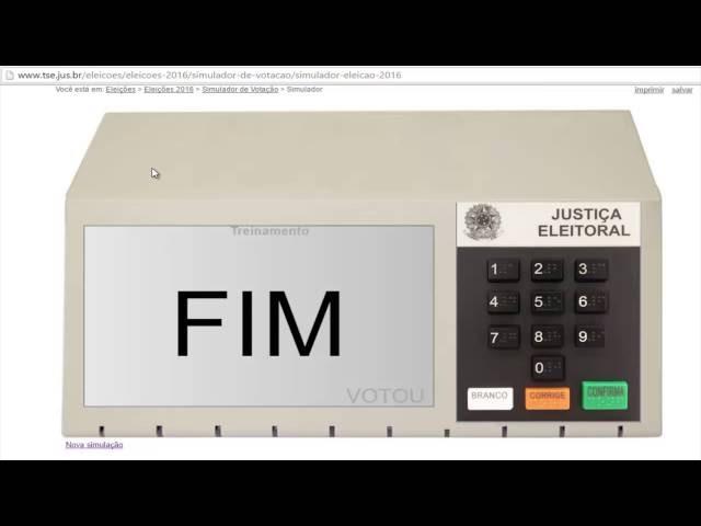 Eleições 2016-Simulador da urna e ordem de votação do processo eleitoral