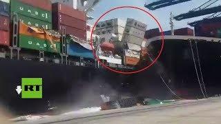 Brutal choque entre dos buques provoca caída de mercancías en Pakistán thumbnail