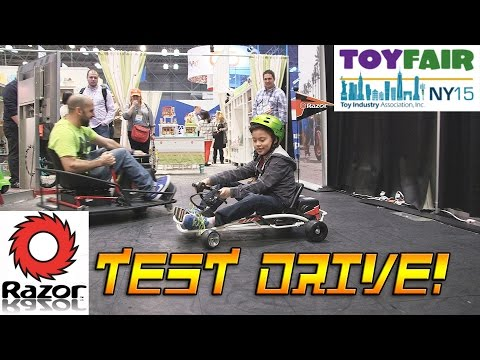 RAZOR TEST DRIVE at the New York Toy Fair! Crazy Cart XL, Power Rider 360, Tekno Scooter, Delta Wing