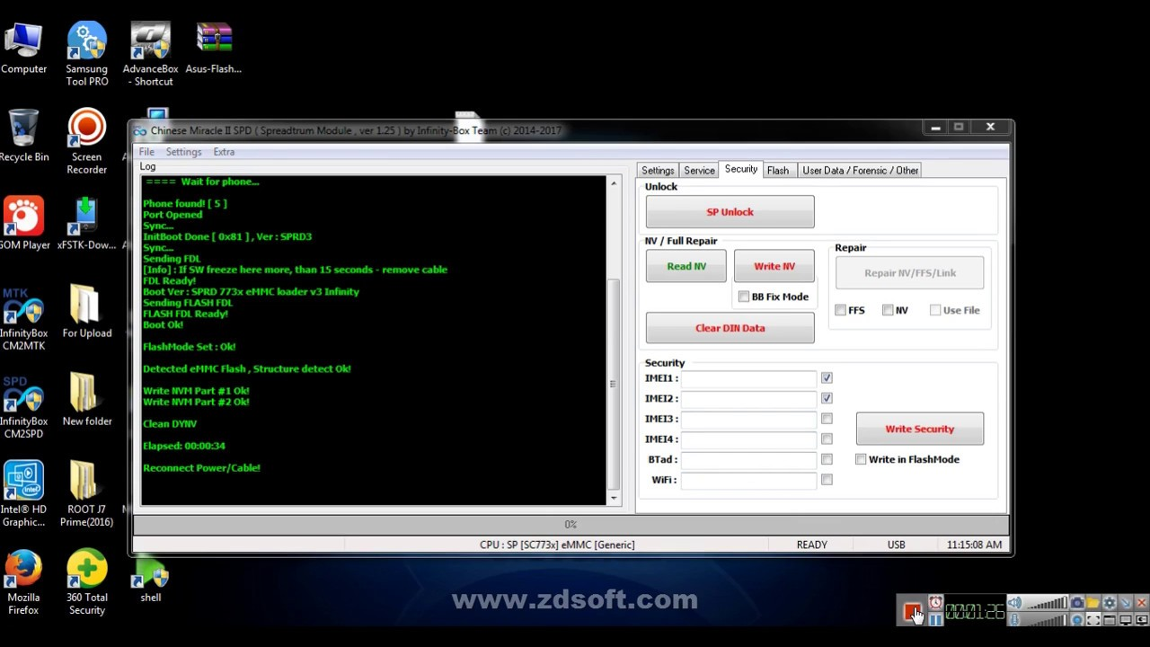 How To IMEI write SPD CPU By Infifnity Dongle CM2