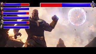 INFINITY WAR Titan Battlewith healthbars  Iron Man Mantis Dr Strange vs Thanos HD