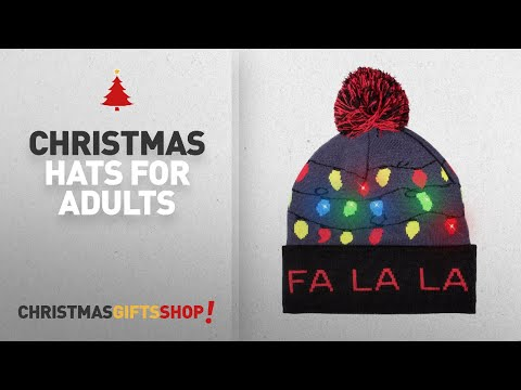 Top Christmas Hats For Adults Ideas: Windy City Novelties LED Light-up Knitted Ugly Sweater Holiday