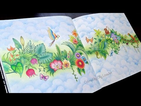 How I color a background in Magical Jungle coloring book Selva
