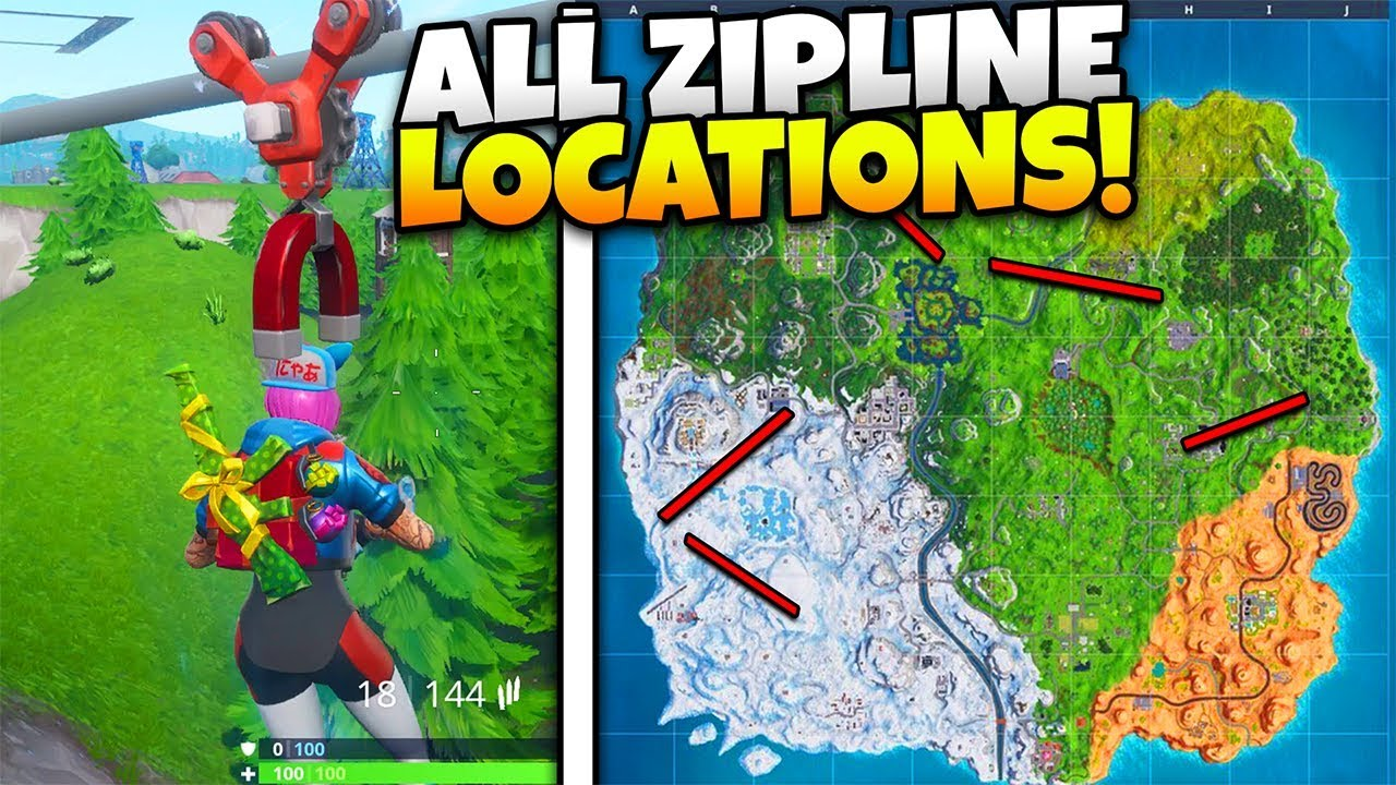 Fortnite Season 7 All Zipline Points Plane Locations Youtube