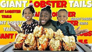8 GIANT LOBSTER TAILS WITH MY KIDS NAVEEN&#39S SPECIAL LOBSTER DIP! BLOVESLIFE SAUCE MU ...