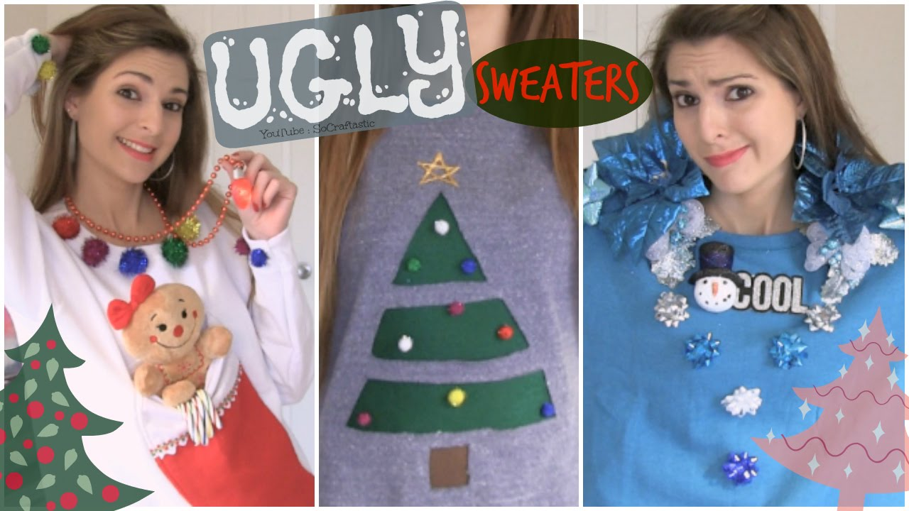 diy ugly christmas sweaters easy affordable how to socraftastic youtube