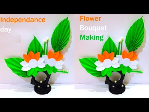 independence day craft - flower bouquet making with paper - diy - howtofunda