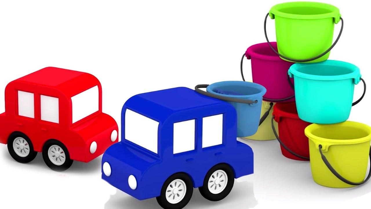 4 carros coloridos. Vamos construir um Castelo de areia! Animação infantil