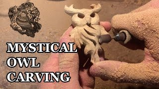 WOOD CARVING | WOODEN OWL PENDANT | MYSTICAL OWL CARVING