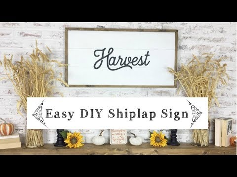 DIY FRAMED SHIPLAP WOOD SIGN \ Easy Faux Shiplap Tutorial Fall Sign