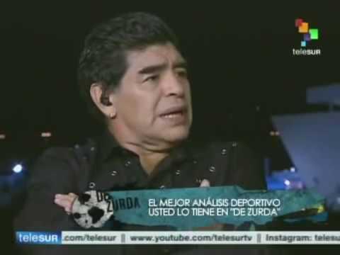 Rafael Correa en el programa De Zurda (Telesur) con Maradona y Víctor Hugo Morales