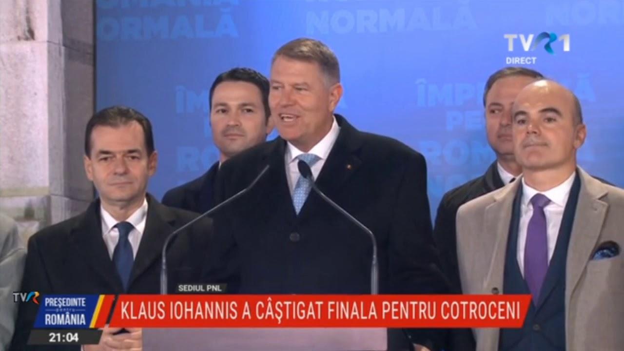 Declaraţii Klaus Iohannis, după primele estimări ale Alegerilor Prezidențiale 2019, turul doi