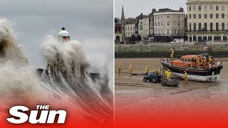 Storm Dennis claims two victims in rough seas as deadly 'bomb cyclone' batters Britain