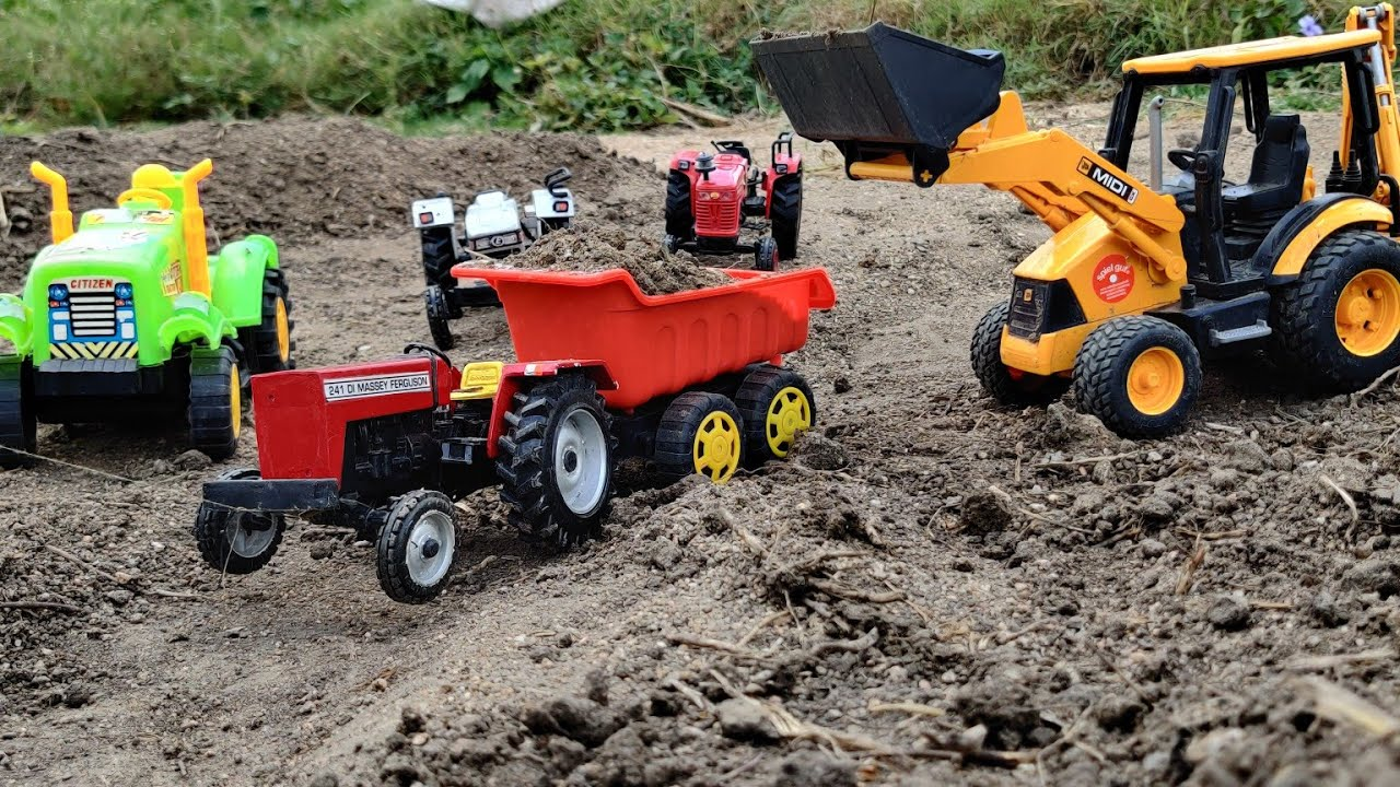 JCB and MF Tractor videos | Massey Ferguson 241 Tractor loaded by JCB Machine