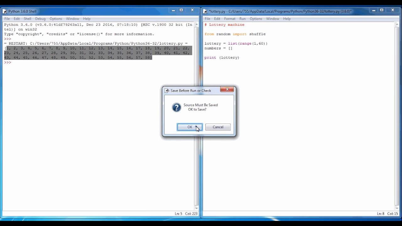 Python Programming 7 Lottery Generator
