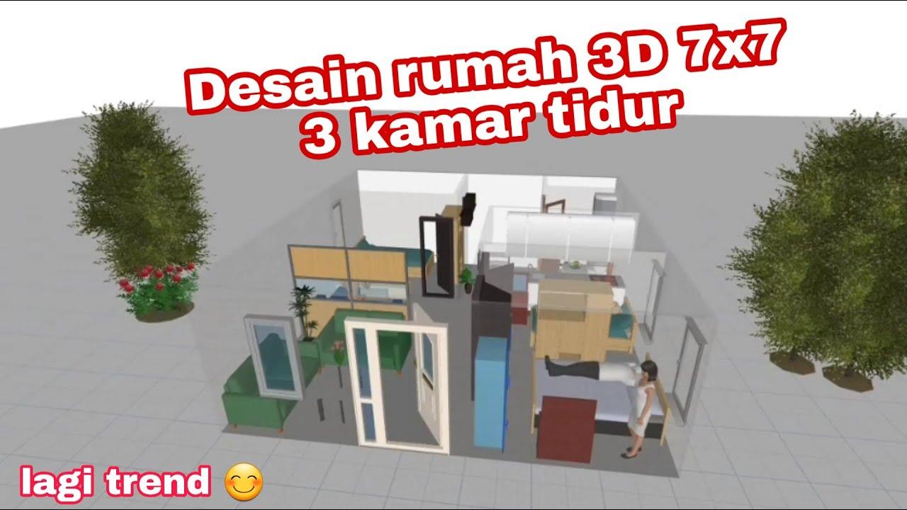 Desain rumah 3D 7x7 // by EkaTv - YouTube