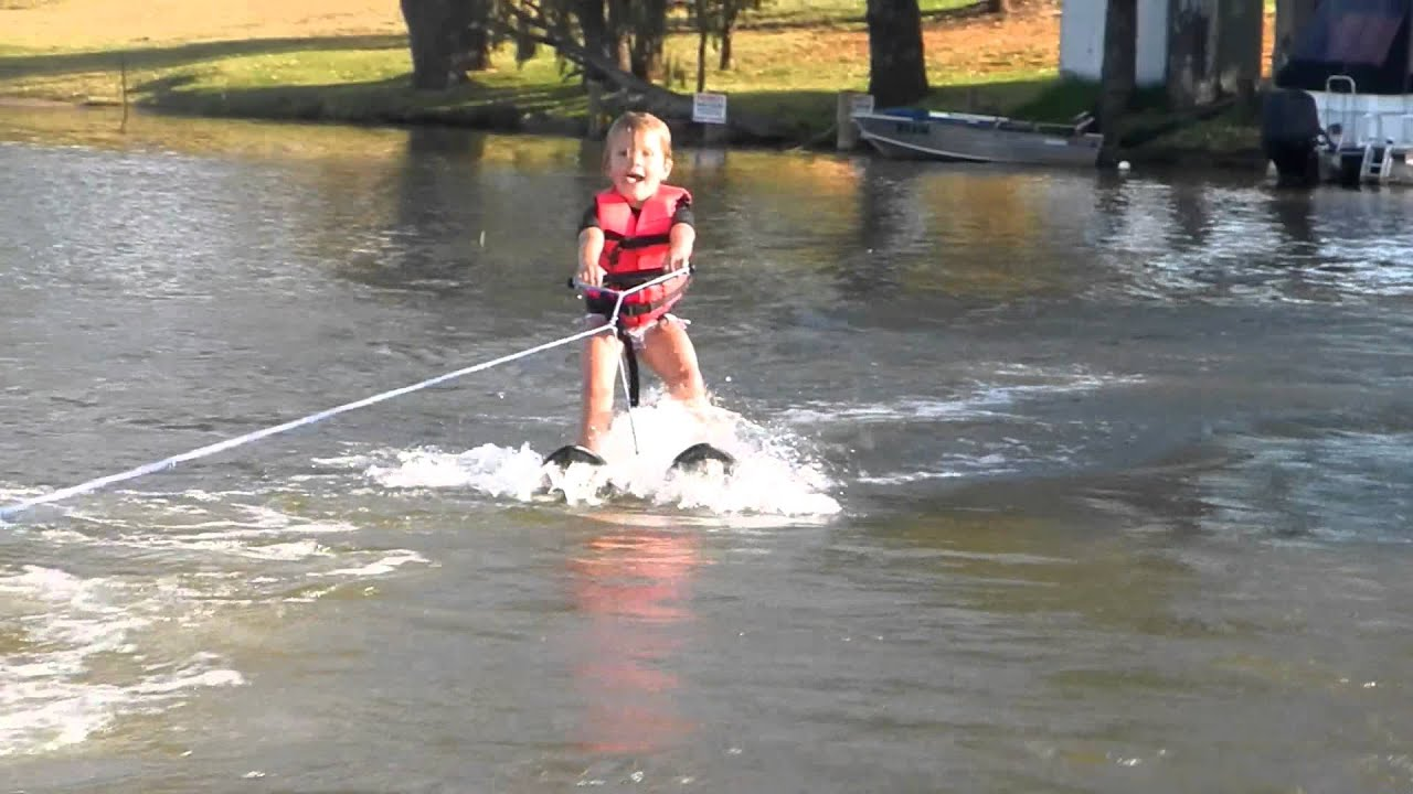 4 Year Old Water Skiing First Attempt Water Skiing