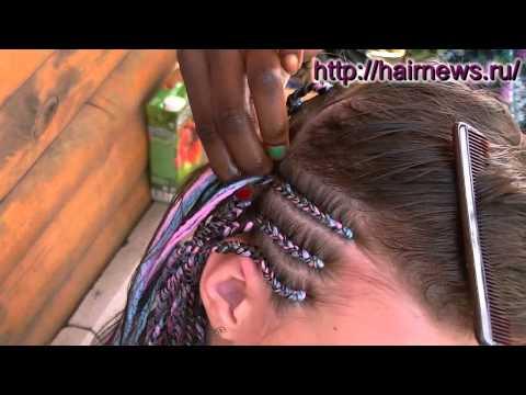 Плетение африканских косичек с нитками. Weaving African Braids And Thread