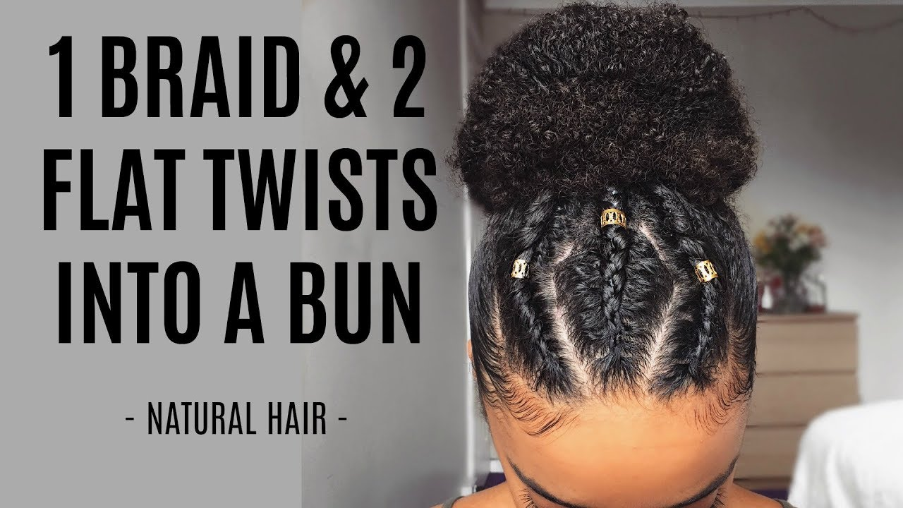 1 Braid & 2 Flat Twists Into A Bun - Black Hair Information