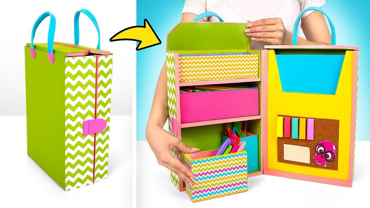 Maleta organizadora de papelão elegante com compartimentos secretos