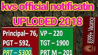 kvs advertisment 14. official notification uploded kvs exam 2018 vacancies