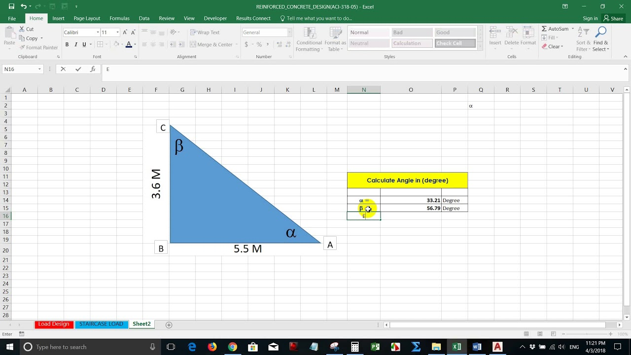 Calculate Angle degree of Triangle in Excel - YouTube