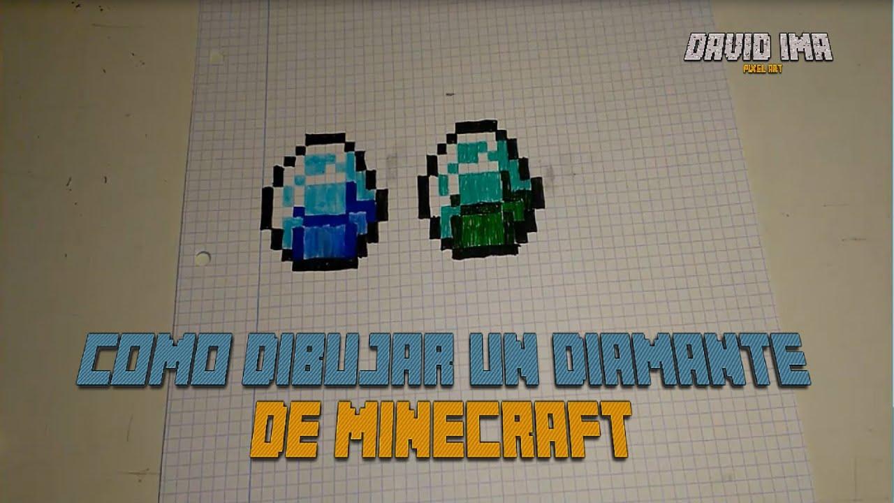 Como dibujar un Diamante de Minecraft  Pixel Art  8 Bits  YouTube