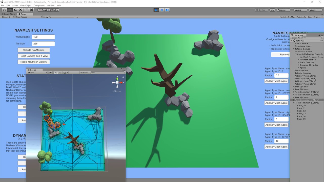 Runtime Generation of Unity NavMesh on the XY plane with 2D