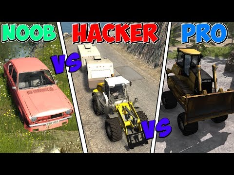 BeamNG Drive - NOOB Vs PRO Vs HACKER #9 (Crashes & Stunts)