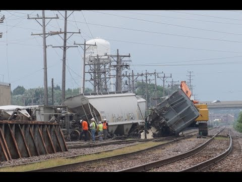 Union Pacific Derailment Cleanup at Butler Yard 8/21/18 With UP Work Train