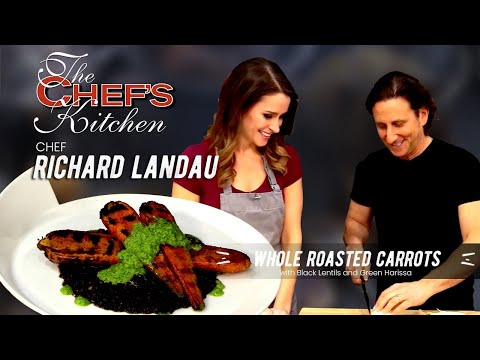 Chef Richard Landau-Whole Roasted Carrots with Black Lentils and Green Harissa