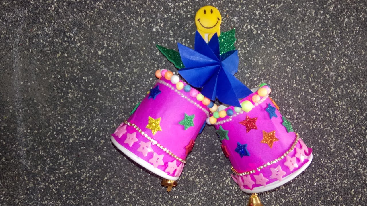 Christmas bell making using paper cup for wall decoration. Christmas decorations. - YouTube