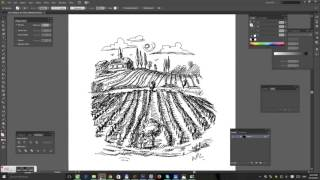 Drawing a vineyard with inkling - vector draw