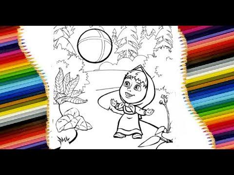 Маша и Медведь. Маша играет в мяч. Раскраска - YouTube