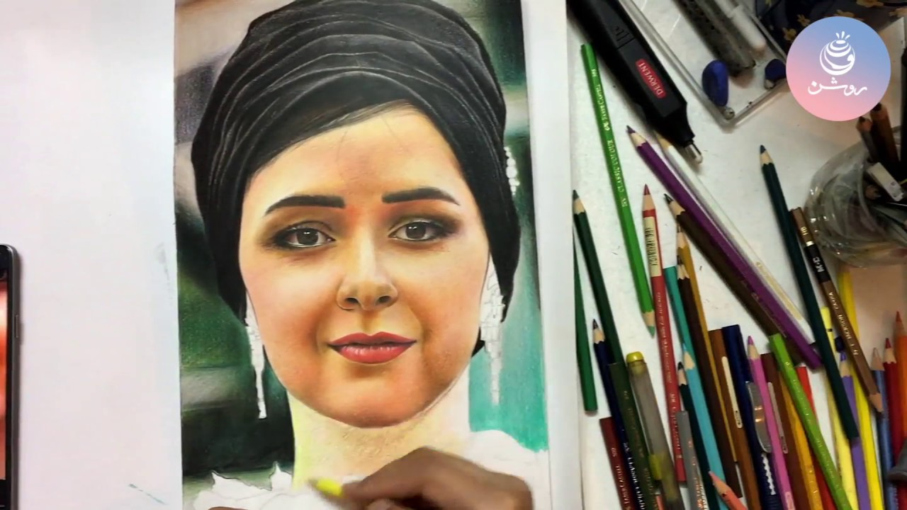 نقاشی چهره ترانه علیدوستی با مداد رنگی - drawing colorful ...