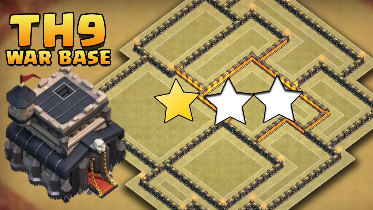 Quot best quot th9 anti 3 star war base coc town hall 9 trophy base