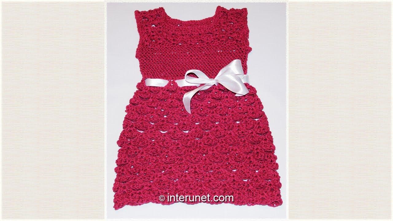 Как связать малышке платье