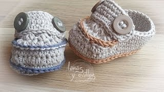 Repeat youtube video Tutorial Mocasines Bebé Crochet o Ganchillo en Español