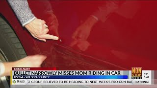 Bullet narrowly misses mom riding in car on US-264 in Wilson County