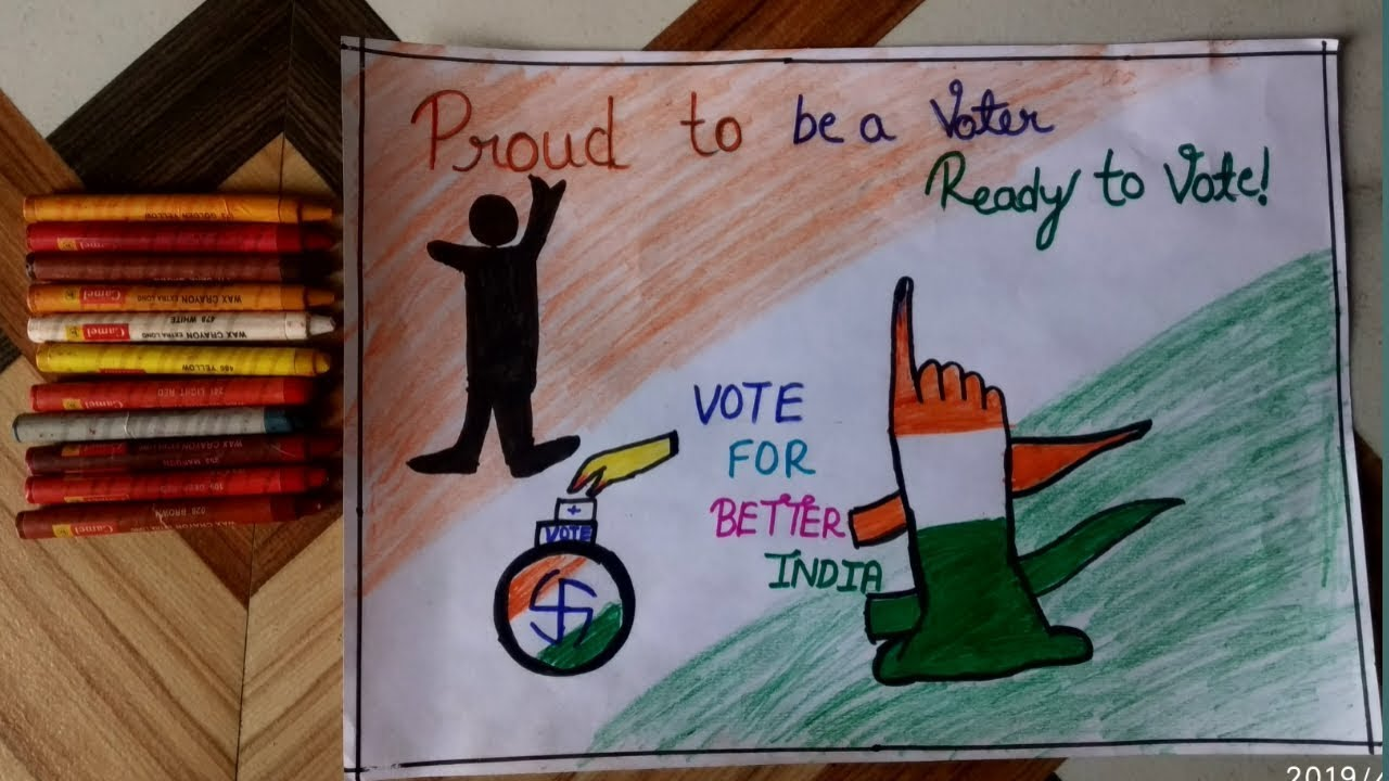 How To Draw Election Drawing How To Draw Vote For Better India Drawing Youtube