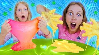 Milana and Mom play SLIME Jenga CHALLENGE
