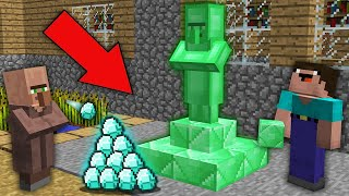 Minecraft NOOB vs PRO:WHY NOOB BUILD EMERALD VILLAGER STATUE IN THIS VILLAGE?Challenge 100% trolling