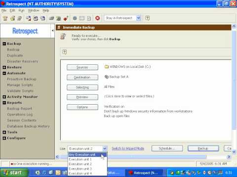 Retrospect for Windows Activity Monitor Overview