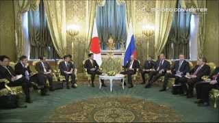 President Vladimir Putin of Russia met with the Prime Minister Shinzo Abe