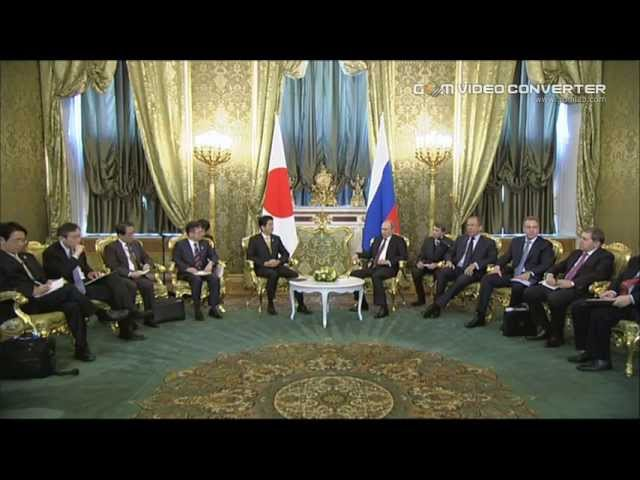 President Vladimir Putin Of Russia Met With The Prime Minister Shinzo Abe