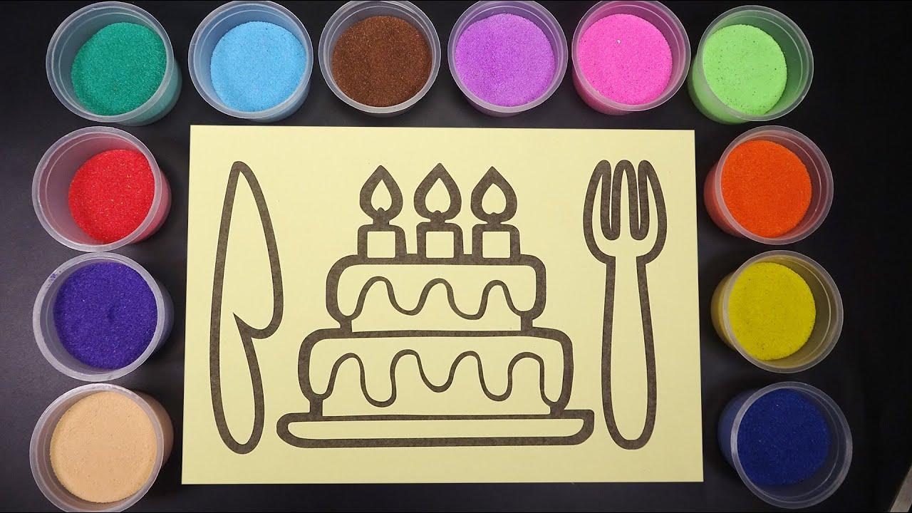TÔ MÀU TRANH CÁT BÁNH KEM SINH NHẬT | SAND PAINTING HAPPY BIRTHDAY CAKE by  bắp bắp channles - YouTube