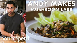 andy-makes-mushroom-larb-with-peanuts-from-the-test-kitchen-healthyish-bon-apptit